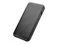 Husa Piele iCarer Vintage Leather pentru Apple iPhone 12 Pro Max, Neagra, Blister RIX1202B