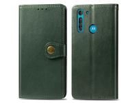 Husa Piele Enkay Wallet pentru Motorola Moto G8, Verde