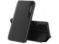 Husa Piele OEM Eco Leather View pentru Apple iPhone 12 / Apple iPhone 12 Pro, cu suport, Neagra, Blister