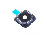 Geam Camera Spate Samsung Galaxy S6 edge G925, Cu Rama (Bleumarin), Negru