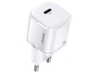 Incarcator Retea USB Usams T36 Mini US-CC124, 1 X USB Tip-C, 20W PD 3.0, Alb, Blister CC124TC02
