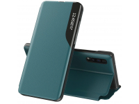 Husa Piele OEM Eco Leather View pentru Samsung Galaxy S20 Plus G985, cu suport, Verde, Blister