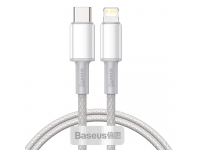 Cablu Date si Incarcare USB Type-C la Lightning Baseus, 2 m, 20W, Alb, Blister CATLGD-A02