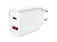 Incarcator Retea USB JELLICO C9, 1 X USB - 1 X USB Tip-C, 18W, Alb, Blister