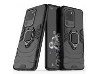 Husa Plastic - TPU OEM Ring Tough Armor Kickstand pentru Samsung Galaxy S20 Ultra G988, Neagra, Bulk