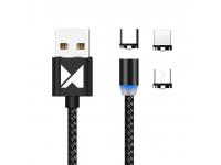 Cablu Incarcare USB - Lightning / USB Type-C / MicroUSB WZK, 1 m, Magnetic, Led, Negru, Blister WMC-01