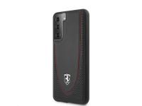 Husa Piele Ferrari Off Track Perforated pentru Samsung Galaxy S21 5G, Neagra FEOGOHCS21SBK