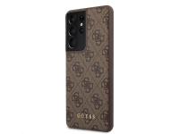 Husa Plastic - TPU Guess 4G pentru Samsung Galaxy S21 Ultra 5G, Maro, Blister GUHCS21LG4GFBR
