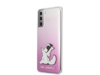 Husa Plastic Karl Lagerfeld Choupette Fun pentru Samsung Galaxy S21+ 5G, Roz, Blister KLHCS21MCFNRCPI