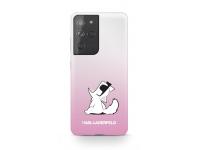 Husa Plastic Karl Lagerfeld Choupette Fun pentru Samsung Galaxy S21 Ultra 5G, Roz, Blister KLHCS21LCFNRCPI