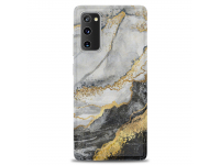 Husa TPU OEM Gilt Marble pentru Samsung Galaxy S20 FE G780, Neagra Gri