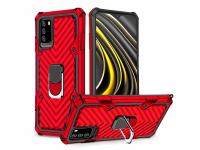 Husa Plastic - TPU OEM Ring Cool Armor Kickstand pentru Xiaomi Redmi Note 9 4G / Xiaomi Poco M3, Rosie, Bulk