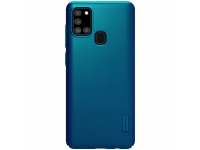 Husa Plastic Nillkin Super Frosted pentru Samsung Galaxy A21s, Peacock Blue, Albastra