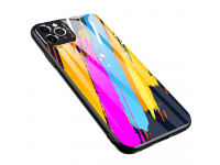 Husa TPU OEM Color Glass3 pentru Apple iPhone 11 Pro, cu spate din sticla, Multicolor
