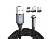 Cablu Incarcare USB - Lightning / USB Type-C / MicroUSB KUULAA KL-O135, 1 m, Magnetic, 2.4A, Negru, Blister