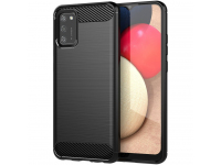 Husa TPU OEM Carbon pentru Samsung Galaxy A02s A025, Neagra, Bulk