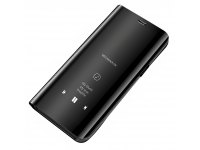 Husa Plastic OEM Clear View pentru Samsung Galaxy A12 A125, Neagra, Blister