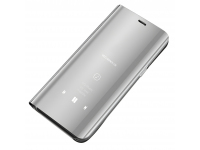 Husa Plastic OEM Clear View pentru Samsung Galaxy A12 A125, Argintie, Blister
