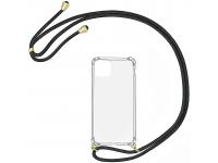 Husa TPU OEM Antisoc pentru Samsung Galaxy A12 A125, Cu snur negru, Transparenta, Bulk