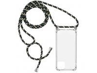 Husa TPU OEM Antisoc pentru Samsung Galaxy A12 A125, Cu snur verde, Transparenta, Bulk