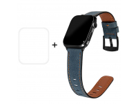 Curea Ceas Enkay Piele Retro pentru Apple Watch Series 4 40mm / Apple Watch Series 5 40mm / Apple Watch Series 6 40mm, + Folie Protectie Ecran Plastic 3D, Albastra, Blister