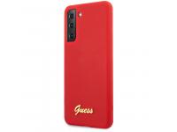 Husa TPU Guess Silicone Metal Logo Script pentru Samsung Galaxy S21+ 5G, Rosie GUHCS21MLSLMGRE