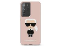 Husa TPU Karl Lagerfeld Iconik Full Body pentru Samsung Galaxy S21 Ultra 5G, Roz KLHCS21LSLFKPI