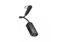 Adaptor Audio Splitter USB Type-C - USB Type-C / 3.5 mm Baseus L45, Negru, Blister CATL45-01