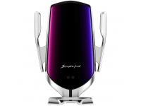 Incarcator Auto Wireless OEM, Quick Charge, 10W, Senzor IR, Argintiu, Resigilat