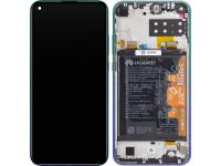 Display - Touchscreen Huawei P40 lite E, Cu Rama, Acumulator si piese, Albastru (Aurora Blue) 02353FMX