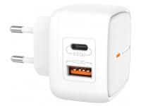Incarcator Retea USB XO Design L60, 1 X USB - 1 X USB Tip-C, 18W, Quick Charge, Alb