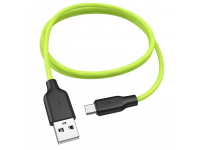 Cablu Date si Incarcare USB la MicroUSB HOCO Fluorescent X21 Plus, 1 m, Verde