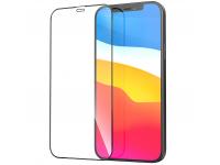 Folie Protectie Ecran HOCO Flash pentru Apple iPhone 12 / Apple iPhone 12 Pro, Sticla securizata, Full Face, Edge Glue, HD G1, Neagra
