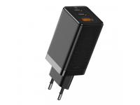 Incarcator Retea USB Baseus GaN, 1 X USB - 2 x USB Tip-C, 65W, Quick Charge, Negru CCGAN2P-B01