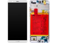 Display - Touchscreen Huawei P smart (2017), Cu Rama, acumulator si piese, Alb 02351SVE