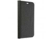 Husa Piele Forcell Luna Carbon pentru Samsung Galaxy A12 A125, Neagra