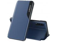 Husa Piele OEM Eco Leather View pentru Samsung Galaxy S21 5G, cu suport, Bleumarin