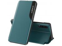 Husa Piele OEM Eco Leather View pentru Samsung Galaxy S21 5G, cu suport, Verde