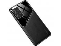 Husa Piele OEM LENS pentru Samsung Galaxy A21s, cu spate din sticla, Neagra