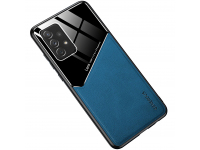 Husa Piele OEM LENS pentru Samsung Galaxy S21 5G, cu spate din sticla, Bleumarin