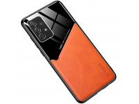 Husa Piele OEM LENS pentru Samsung Galaxy S21 Ultra 5G, cu spate din sticla, Portocalie