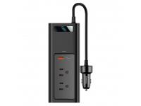 Invertor Electric Auto Baseus, 150W, 2 x Priza UK (12V / 110V) - USB - USB Tip-C, Afisaj, CRNBQ-01