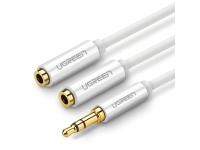 Adaptor Audio Splitter 3.5 mm la 3.5 mm UGREEN Dual AV123, TRS, 0.25 m, Alb
