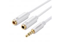 Adaptor Audio 3.5 mm la 3.5 mm UGREEN AV141, TRRS, 0.25 m, Alb