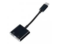 Adaptor Audio USB Type-C la USB Type-C OEM, 0.15 m, Negru