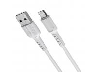 Cablu Date si Incarcare USB la MicroUSB Borofone BX16, 1 m, 2.4A, Alb