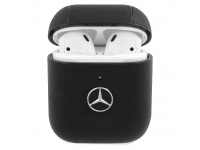 Husa Protectie Casti MERCEDES Leather Apple AirPods Gen 1 / Apple AirPods Gen 2, Neagra MEA2CSLBK