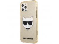 Husa TPU Karl Lagerfeld Choupette Head Glitter pentru Apple iPhone 12 / Apple iPhone 12 Pro, Aurie KLHCP12MCHTUGLGO
