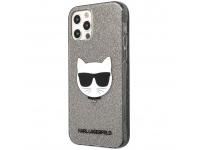 Husa TPU Karl Lagerfeld Choupette Head Glitter pentru Apple iPhone 12 / Apple iPhone 12 Pro, Neagra KLHCP12MCHTUGLB