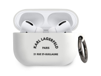 Husa Protectie Casti Karl Lagerfeld Rue St Guillaume pentru Apple AirPods Pro, Alba KLACAPSILRSGWH